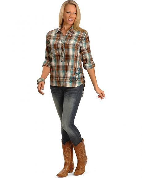 Red Ranch Fancy Stitched & Embroidered Plaid Top - Plus