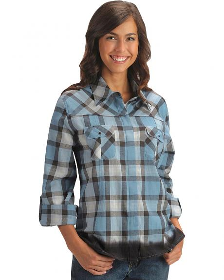 Red Ranch Hidden Placket Plaid Western Shirt - Plus