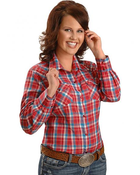 Exclusive Gibson Trading Co. Red Embroidered Yoke Western Shirt - Plus