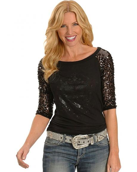 Cowgirls and Diamonds Three-Quarter Sequin Sleeve Baseball Tee - Plus