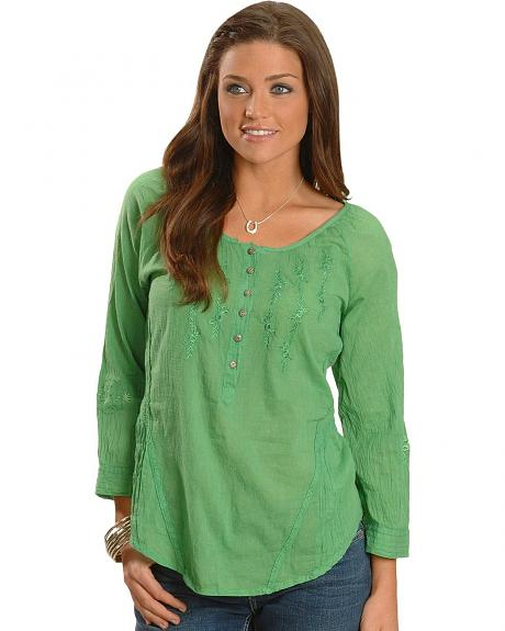 Green Acid Wash Three-Quarter Length Sleeve Peasant Top - Plus