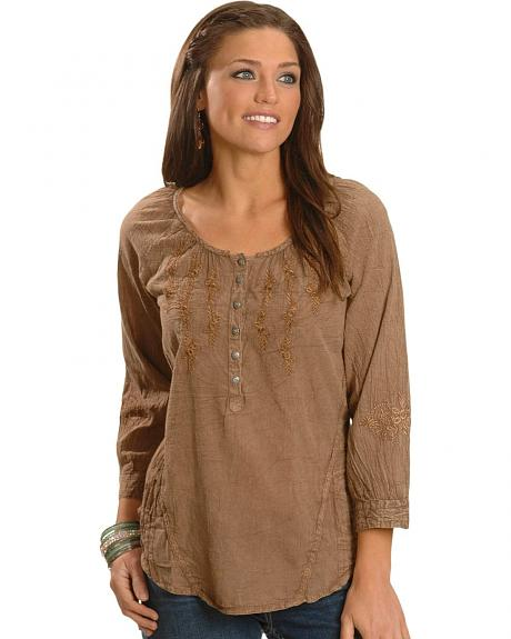 Brown Acid Wash Three-Quarter Length Sleeve Peasant Top - Plus