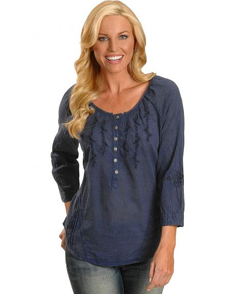 Navy Blue Acid Wash Three-Quarter Length Sleeve Peasant Top - Plus