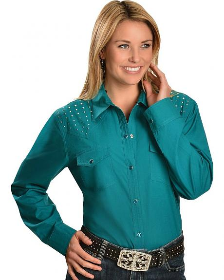 Red Ranch Studded Front & Back Yoke Teal Top - Plus