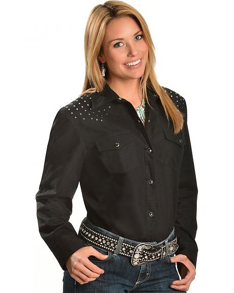 Red Ranch Studded Front & Back Yoke Black Top - Plus
