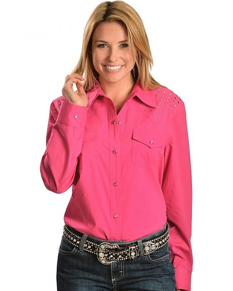 Red Ranch Studded Front & Back Yoke Pink Top - Plus