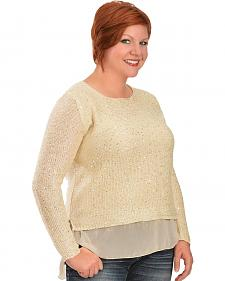 Lawman Chiffon Trim Sparkle Top - Plus