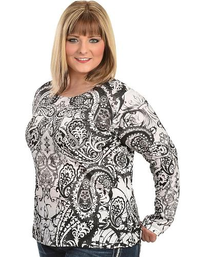 Rhinestone Embellished Black & White Print Top Plus Western & Country 13539HGKL   WHT/BLK