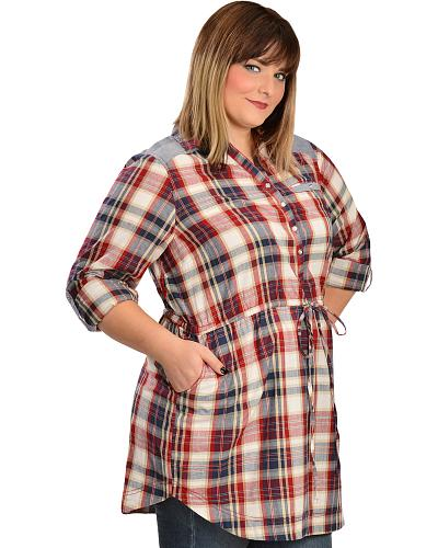 Red Ranch Womens Plaid Chambray Tunic Plus Western & Country 301865X