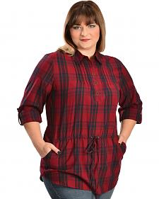 Red Ranch Women's Red Plaid Tunic - Plus