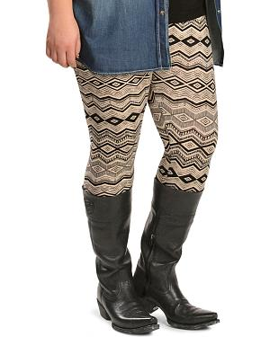 Pink Cattlelac Tan & Black Aztec Print Leggings - Plus Size