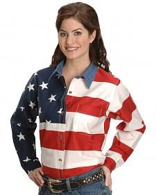 Roper Women's Long Sleeve American Flag Shirt - Plus