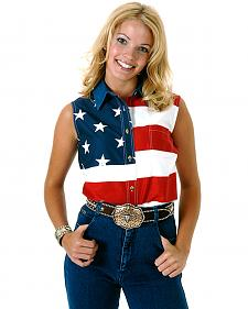Roper Women's Sleeveless American Flag Western Shirt - Plus