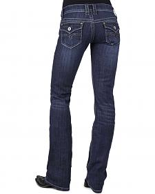 Stetson Women's 818 Dark Rinse Rhinestone Rear Flap Bootcut Jeans - Plus