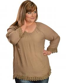 Red Ranch Tan Lace Peasant Top - Plus