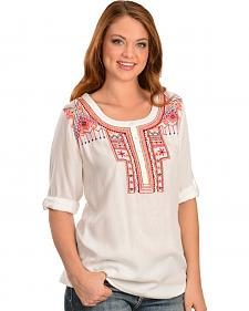 Red Ranch Women's Embroidered Roll-Tab Blouse