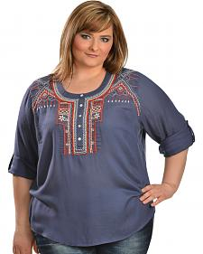 Red Ranch Blue Aztec Embroidered Henley Top - Plus