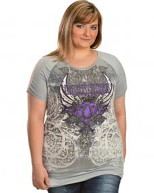 Cowgirls & Diamonds Women's Screen Print Lace Back Shirt - Plus