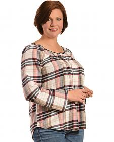Red Ranch Women's Multi-Colored Plaid Pleather Trim Flannel Top - Plus