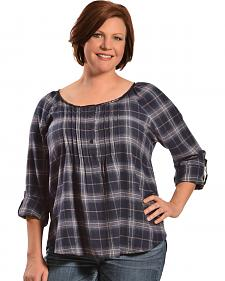Red Ranch Women's Blue Plaid Pleather Trim Flannel Top - Plus