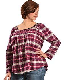 Red Ranch Women's Plum Plaid Pleather Trim Pleated Flannel Top - Plus