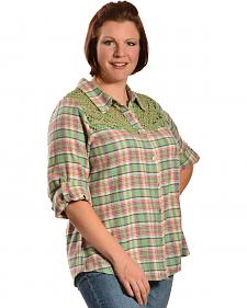 Red Ranch Women's Long Sleeve Crochet Flannel Green Plaid Shirt - Plus