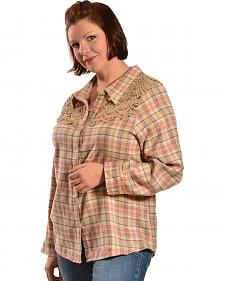 Red Ranch Women's Long Sleeve Crochet Flannel Tan Plaid Shirt - Plus