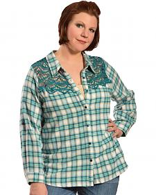 Red Ranch Women's Long Sleeve Crochet Flannel Blue Plaid Shirt - Plus