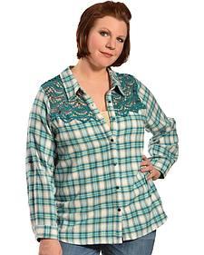 Red Ranch Women's Long Sleeve Crochet Flannel Blue Plaid Shirt - Plus