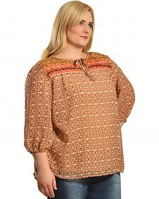 Red Ranch Orange Bohemian Print Tie Blouse - Plus