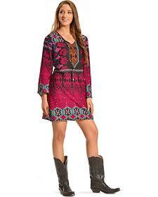 Red Ranch Women's Bohemian Pop Dress - Plus