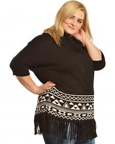 Derek Heart Fringe Cowlneck Black & White Poncho - Plus