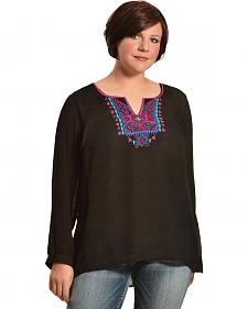 Red Ranch Women's Embroidered Black Tunic - Plus