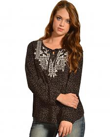 Red Ranch Women's Confetti Embroidered Peasant Top - Plus