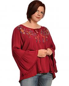 Red Ranch Women's Batwing Embroidered Top - Plus