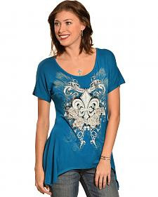 Liberty Wear Women's Fleur-de-Lis Mini Sharktail Shirt - Plus Size