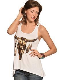 Liberty Wear Women's Metallic Steer & Feathers Tank Top - Plus Size