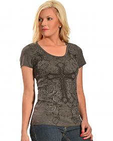 Liberty Wear Women's Charcoal Grey Celtic Cross Top - Plus Size