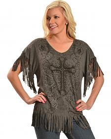 Liberty Wear Women's Fringe Studded Cross Top - Plus