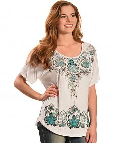 Liberty Wear Women's White AztecTop - Plus Sizes