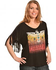 Liberty Wear Women's Black Freedom Fringe Top - Plus