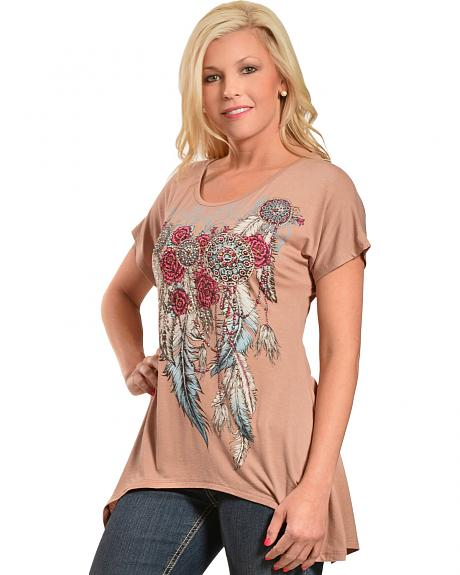 Liberty Wear Women's Mocha Concho and Feathers Sharktail Top - Plus Sizes