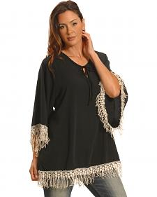 Lawman Women's Black Crochet Trimmed Top - Plus Sizes