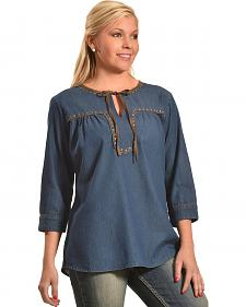 New Direction Women's Denim Faux Suede Peasant Top - Plus Sizes