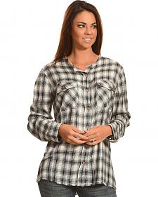 New Direction Sport Women's Plaid Split Back Western Shirt