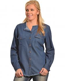 New Direction Women's Frayed Edge Denim Shirt - Plus Sizes