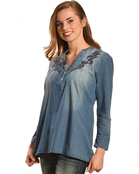 Tantrums Women's Denim Embroidered Top - Plus
