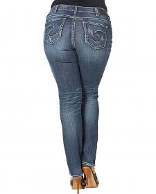 Silver Women's Suki Mid Straight Dark Wash Jeans - Plus Size