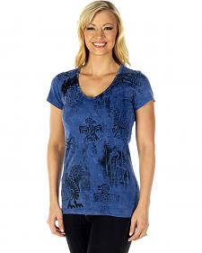 Liberty Wear Women's Denim Southwest Short Sleeve Tee - Plus