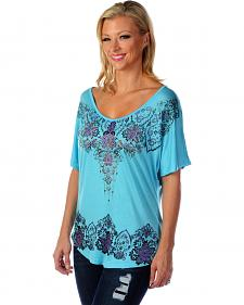 Liberty Wear Women's Floral Rhinestone Studded Top - Plus